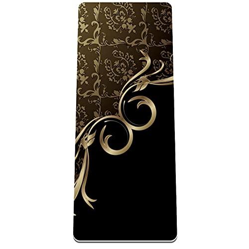 PLOKIJ Esterilla de yoga clásica de 4 mm con impresión de ejercicio y fitness para todo tipo de yoga, pilates y ejercicios de piso, figura abstracta de oro negro 80 x 183 x 0,8 cm