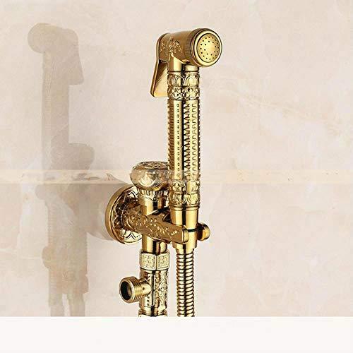 Latón grifos bidé individual fría pared portátil Higiénico aerosol cabezal de ducha para el lavado de coches Baño Aseo Enjuague mascotas aerógrafo 8891, oro, Federación Rusa