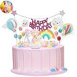 Ulikey Unicornio Decoración de Tartas, Cake Topper Decoracion Cumpleaños Happy Birthday Banderines Banquete de Boda Globos Arcoiris Decorar Tartas Infantiles Niñas (color 1)