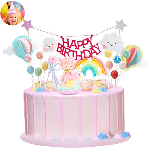 Ulikey Unicorno Cake Topper Kit, Unicorno Compleanno Decorazioni Torta con Banner di Happy Birthday Arcobaleno Palloncini Decorazione Torte per Ragazzi Ragazze Bambini (Ragazza)