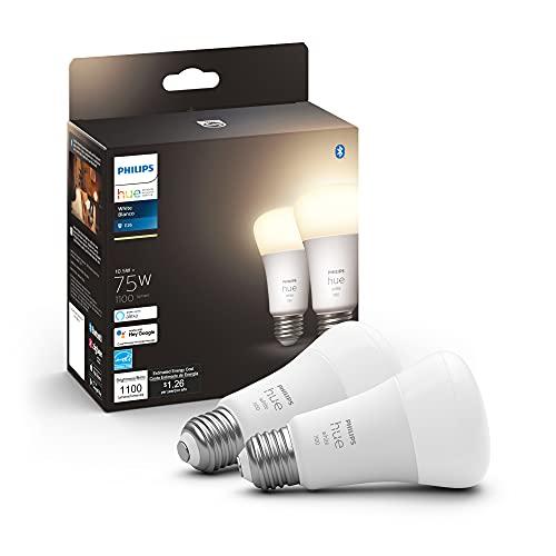 Philips Hue 2-Pack White A19 Medium Lumen Smart Bulb, 1100 Lumens, Bluetooth & Zigbee Compatible (Hue Hub Optional), Compatible with Alexa & Google Assistant
