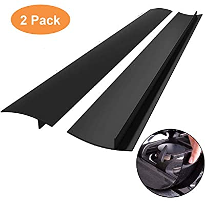 Kitchen Silicone Stove Counter Gap Cover with Heat Resistant Wide & Long Gap Filler Used for Protect Gap Filler Sealing Spills in Kitchen Counter, Stovetops?2 Pack, Black?21 Inch?
