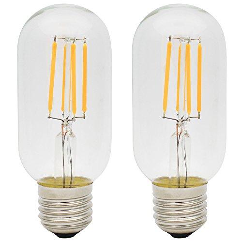 2X E27 Filamento LED 4W Bombilla Edison Retro T45 Bombilla Vintage LED Blanco Cálido 400LM Super Brillante LED Edison AC 220V