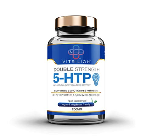5HTP - 200mg Griffonia Seed Extract - 6 Month Supply of High Strength 5-HTP - 180 Vegan Tablets - Precursor to Serotonin, Mood & Sleep Supplement - UK Made by Vitrilion