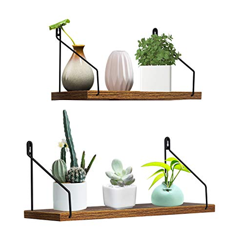 Giftgarden Floating Shelves for Wall Set of 2 Simple Rustic Wall Shelf with Black Wire Hanging Brackets for Bathroom Bedroom Kitchen Plant Living Room Laundry Office