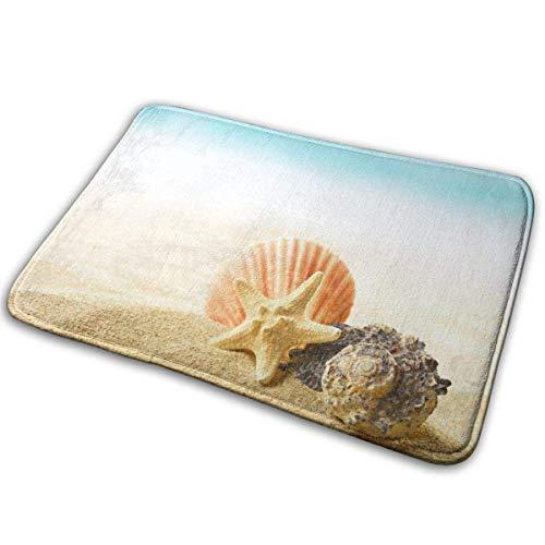 GOSMAO Felpudo de Entrada Alfombra Exterior para Puerta Impermeable Lavable Antideslizante Playa Conchas Estrellas De Mar 40X60cm