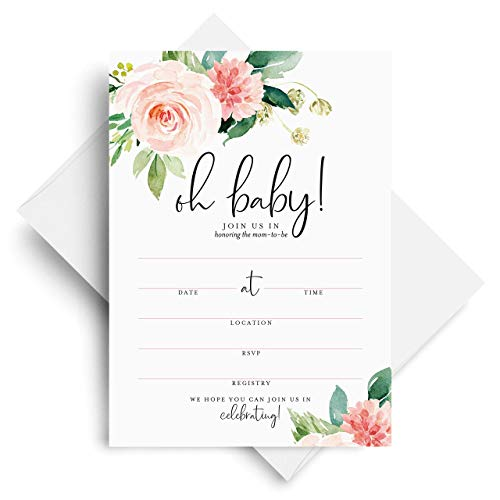 Bliss Collections Baby Shower Invitations with Envelopes, 25 Oh Baby Blank Fill-In Boho Baby Shower Invites in Pink Floral Greenery Design, 5 x 7 Cards to Match Your Baby Shower Decorations and Decor