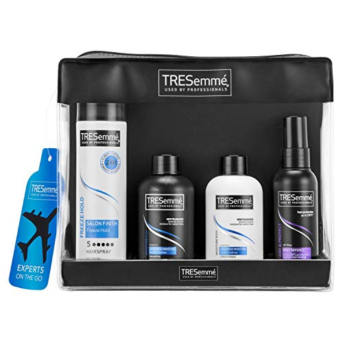 Tresemme Experts On The Go Gift Set for Women with Moisture Rich Shampoo, Conditioner, Freeze Hold Hairspray, Heat Defence Spray & Travel Essentials