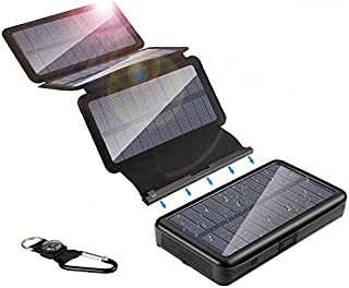 20000mAh ソーラーチャージャー モバイルバッテリー 携帯 急速充電 太陽光 4枚ソーラーパネル スマホ充電器