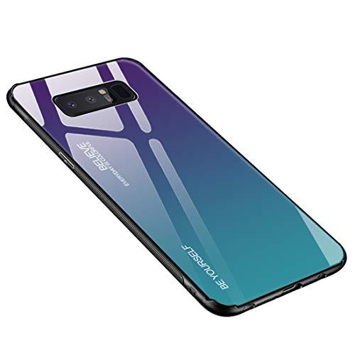 Funda Samsung Galaxy Note 8, Borde de Silicona TPU Suave Vidrio Templado Cubierta Trasera Carcasa Gradiente de Color Resistente a los Arañazos para Galaxy Note 8 (Galaxy Note 8, Púrpura + verde)
