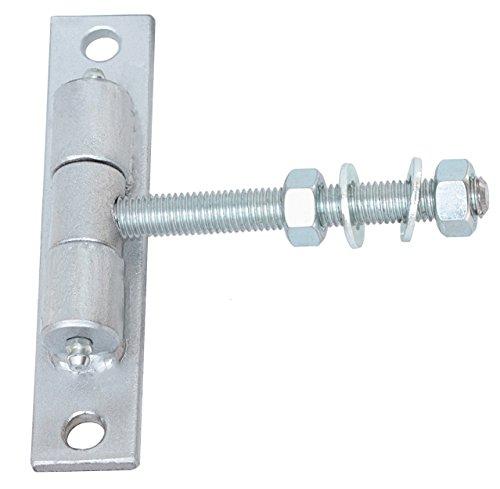 Torangel einstellbar Torscharnier Hängscharniere Gewinde M10 L105 mm Silber Pulverbeschichtet mit Anschraubblech