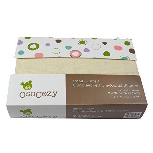 OsoCozy - Prefolds Unbleached Cloth Diapers, Size 1(7-15lbs), 6 Pack - Soft,...