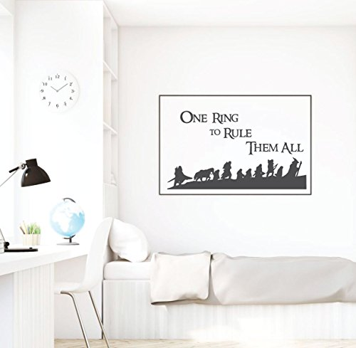 Lord Of The Rings Wall Art - LOTR Vinyl Decor - One Ring To Rule Them All- For Bedroom, Classroom or Study Area