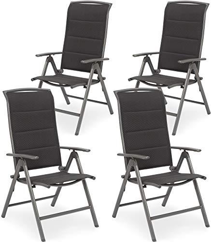 Brubaker 4er Set Gartenstühle Milano - Hochlehner Stühle klappbar - 8-Fach verstellbare Rückenlehnen - Klappstühle Aluminium - Wetterfest - Silbergrau