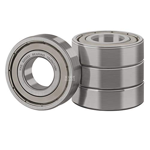 XiKe 4 Pcs 6202ZZ Double Metal Seal Bearings 15x35x11mm, Pre-Lubricated and Stable Performance and Cost Effective, Deep Groove Ball Bearings.