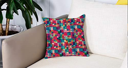Square Soft and Cozy Pillow Covers,Cuadrados de contraste de color moderno geométrico italiano con temas de moda con ilustraciones,Funda para Decorar Sofá Dormitorio Decoración Funda de almohada.