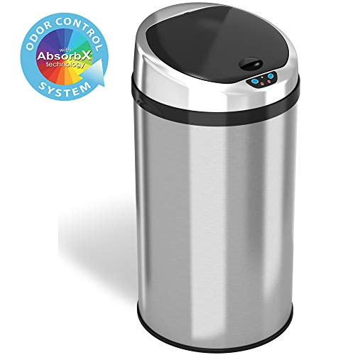 iTouchless 8 Gallon Touchless Sensor Kitchen Trash Can with Odor Control System, Stainless Steel, Round Garbage Bin for Home or Office