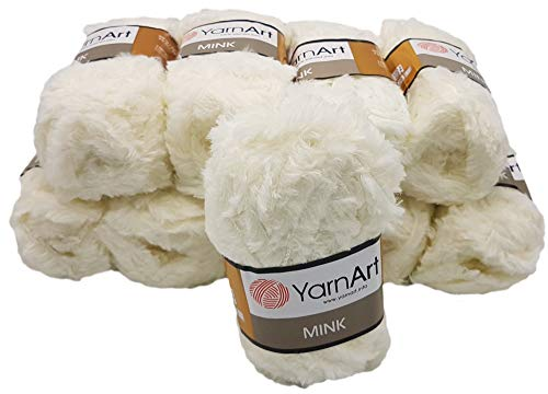 YarnArt Mink 10 x 50 Gramm Plüschgarn, Fransengarn, 500 Gramm Paket Wolle (Creme 330)