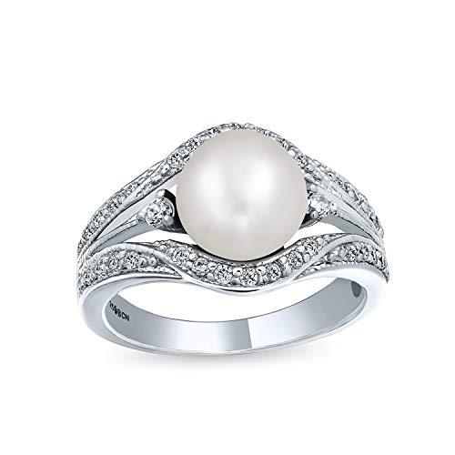 Estilo Art Deco Blanco Aqua Fresca Culturada Perla Anillo De Compromiso Para Mujer...