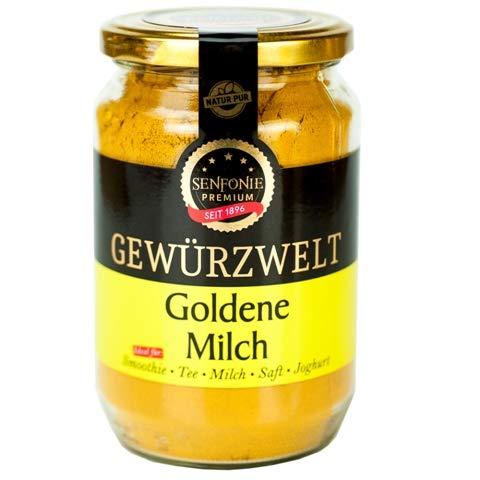 Altenburger Original Senfonie Premium Goldene Milch Golden Milk Gewürzmischung 350g Glas, Latte-Pulver mit Kurkuma, Ingwer, Pfeffer, Zimt und Muskat, ohne Zucker