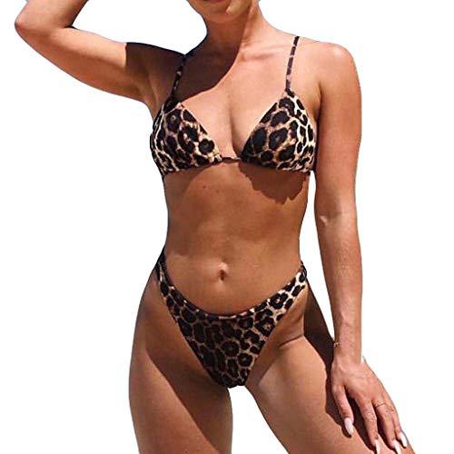 HINK Traje de baño para Mujeres, Mujeres Sexy Moda Estampado de Leopardo Push-Up Sujetador Acolchado Bikini de Playa Conjunto Traje de baño Marrón L, Traje de baño para Mujeres Control de Barriga