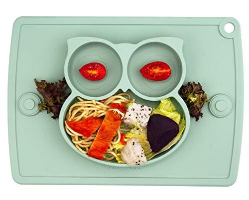 Baby Teller Schüssel Mini Silikon Tischset für Baby Kleinkinder und Kinder Tragbar Teller Baby Rutschfest Babyteller Tischset Abwaschbar für Spülmaschine, Mikrowelle (Matcha Eule)