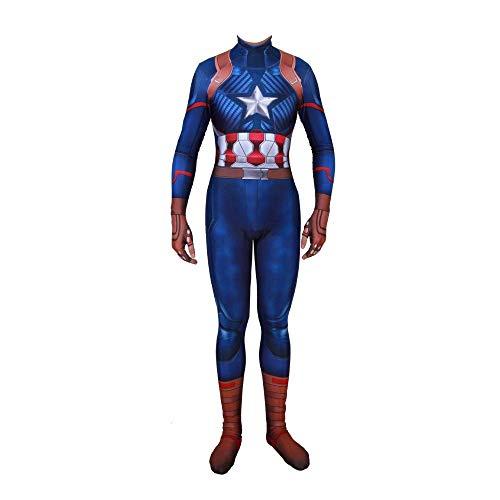 WOLJW Fancy Jurk Kostuum Volwassen Kind Kapitein Amerika Kostuum Cosplay Kleding Jumpsuit 3D Prin Lycra Panty Party Jurk Cosplay Fancy Jurk Props