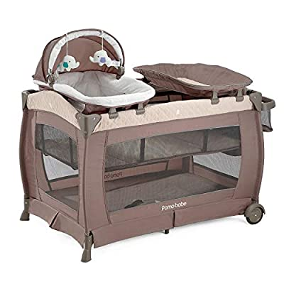 Deluxe Nursery Center Comfortable Mattress and Changing Station (Khaki)