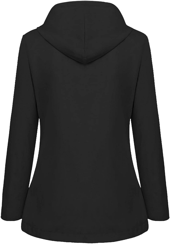 Women's Solid Rain Jacket Outdoor Jackets Waterproof Hooded Raincoat Windproof