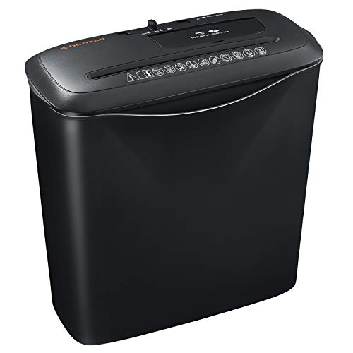 8-Sheet Strip Cut Home Paper Shredder,Bonsaii CD and Credit Card Office Shredder Machine with Overheat and Overload Protection,3.5 Gallons Wastebasket,Black (S120-C)