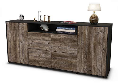 Stil.Zeit Sideboard Ephenia/Korpus anthrazit matt/Front Holz-Design Treibholz (180x79x35cm) Push-to-Open Technik