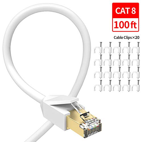 Cat 8 Ethernet Cable 100 ft, GLANICS Network Internet Cable Patch RJ45 High-Speed Gold Plated Plug SSTP LAN Wire for Router, Modem, Gaming, Xbox, PS4, Switch (100ft, White-100ft)