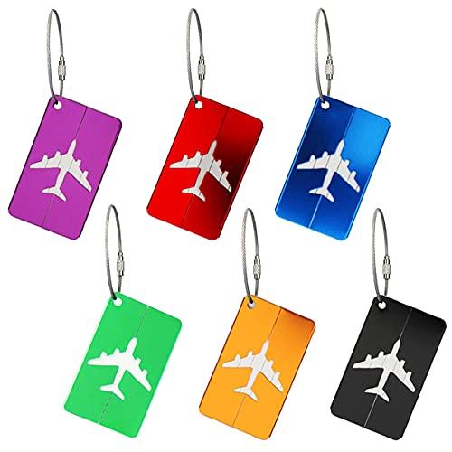 6 Stück Kofferanhänger, Koffer Tags mit Namensschild Adressschild Reise Gepäckanhänger aus Metall für Flugzeug Gepäck Handtasche Koffer Tasche ID Etiketten