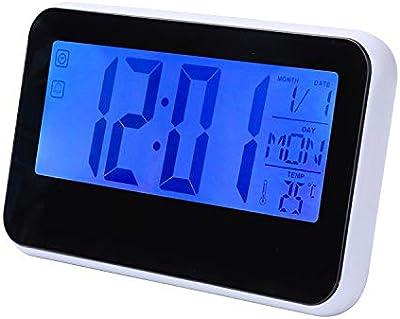 YUCH Led Reloj Despertador Electrónico Calendario Perpetuo Palabra Temperatura Reloj, Negro