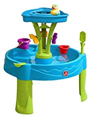 Make a splash with the Step2 Summer Showers Splash Tower Water Table! Large, open water activity table design allows toddlers to practice social skills. Spacious outdoor water table for toddlers features 360-degree water play fun! Non-leak drain plug...