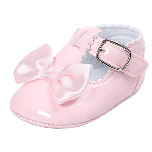 Zapatos Bebé Niña 2019 SHOBDW Zapatos De Princesa Dulce Pisos Zapatos Cuna Suela Suave Antideslizante Zapatillas Zapatos Lindos del Bowknot Primeros Pasos Zapatos Bebé Recién Nacida(Rosa,12~18)