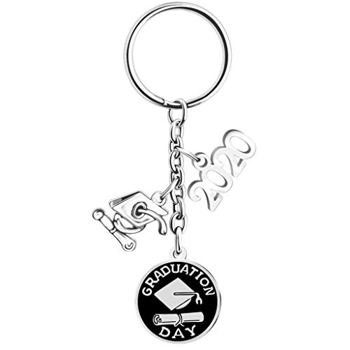 Luxeshion 1/5/10Pcs Class of 2020 School Keychain Keyring Memorial Graduation Gift Stainless Steel Keychain Gift for Graduation (1pc)