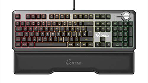 QPAD MK-95 Pro Gaming Premium Opto Mechanische Tastatur, Opto Mechanical Keyboard mit 2in1 Q Switch (Linear Rot und Taktil mit klick Blau), RGB LED Beleuchtung, Deutsches QWERTZ DE Layout, Anthrazit