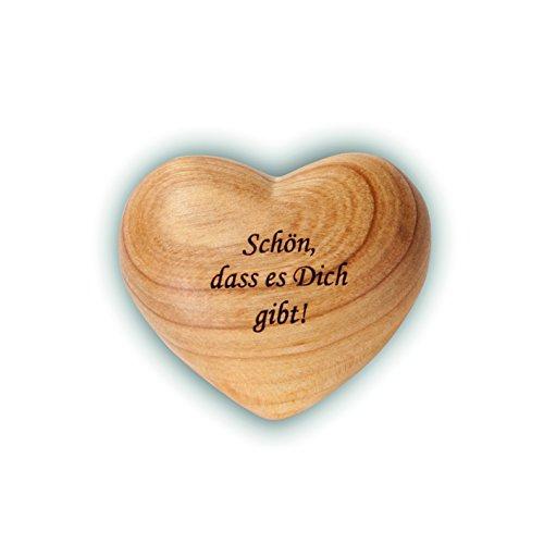 Waldfabrik Black Forest Herz mit Gravur aus Zierholz, ideal als Geschenkidee und Glücksbringer, Spruch wählbar (Schön, DASS es Dich gibt!)