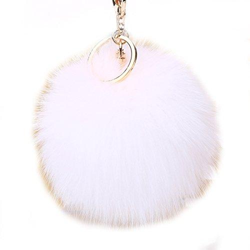 URSFUR Weiche Kleine Fellbommel aus Fuchspelz Schlüssel Anhänger Schlüsselring Auto Schlüsselanhänger - weiß