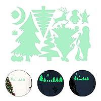 NUOBESTY ダークステッカーのクリスマスグロー蛍光発光クリスマスツリー装飾ステッカークリスマス壁ウィンドウ飾り