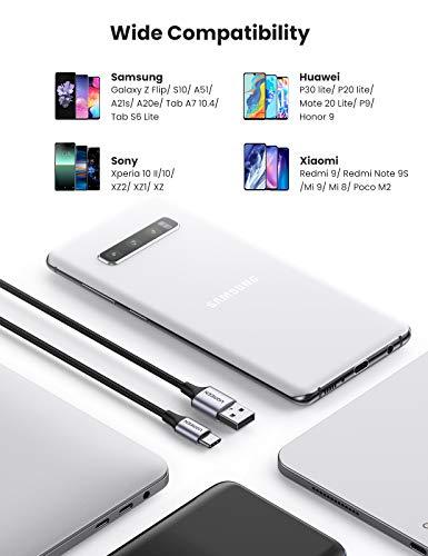 UGREEN USB C Ladekabel Quick Charge 3.0 USB C Kabel Schnellladekabel kompatibel mit Galaxy S10 S9 S8 A51 A20e A21s Z Flip, Huawei P30 lite, Redmi Note 8, Sony Xperia XZ usw. (0.5M, Schwarz)