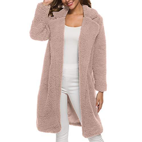 Zytyeu Jacke Damen Jacke Damen Lange Winter Warme Samt Mode Lässig Langärmelige Einfarbige Klassische All-Match Elegante Schicke Damen Top Pink. XL