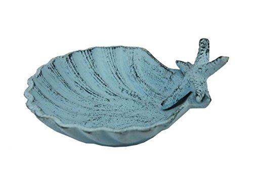 "Hampton Nautical Cast Iron Shell with Starfish Decorative Bowl, 6"", Dark Blue/Whitewashed"