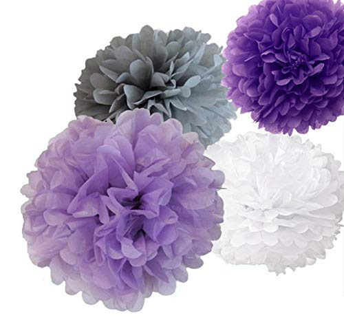 12pcs 8 Inch 10 Inch 14 Inch Mixed Lavender Purple Grey White Tissue Pom Poms Paper Flower Wedding Bridal Shower Party Fluffy Decoration