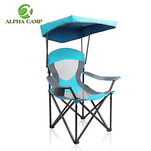 ALPHA CAMP Heavy Duty Canopy Lounge Chair Sunshade Hiking Travel Chair with Cup Holder Enamel Blue