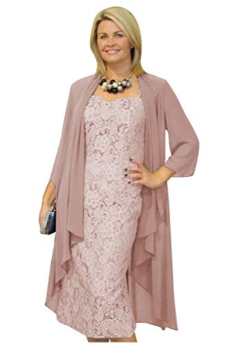 Women's Tea Length Mother of The Bride Dress Chiffon 2 Pieces Lace with Jacket Dusty Rose (Apparel)