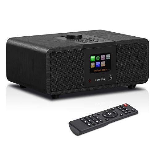 LEMEGA M3i - Stereo Internetradio, DAB/DAB+ Digitalradio, WiFi-Streaming, Bluetooth, Spotify Connect, UKW-Tuner mit RDS, USB, AUX, 2,8-Zoll-Farbdisplay,Subwoofer, 20 Watt RMS - Eiche schwarz