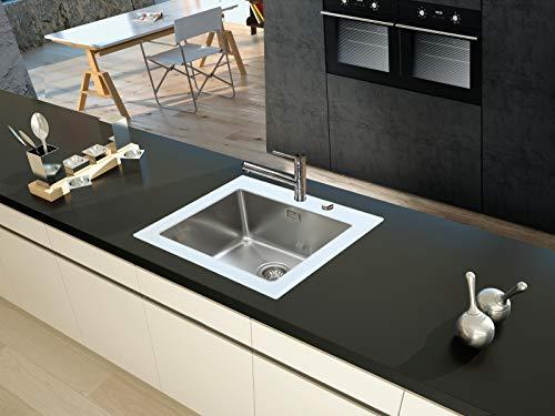 respekta Glasspüle - EinzelbeckenNEW YORK 55x53 Single Weiß NEWYORK55X53W