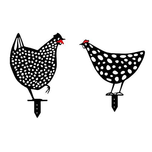 FOHYLOY 2 Unids Pollo Patio Arte Jardín Césped Decoración De Suelo Ornamento, Decoración De Forma Animal para decoración de jardín, Camino, aceras, jardín